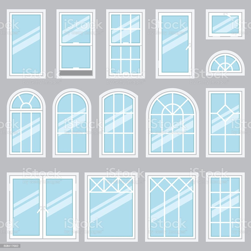 Windows types vector art illustration