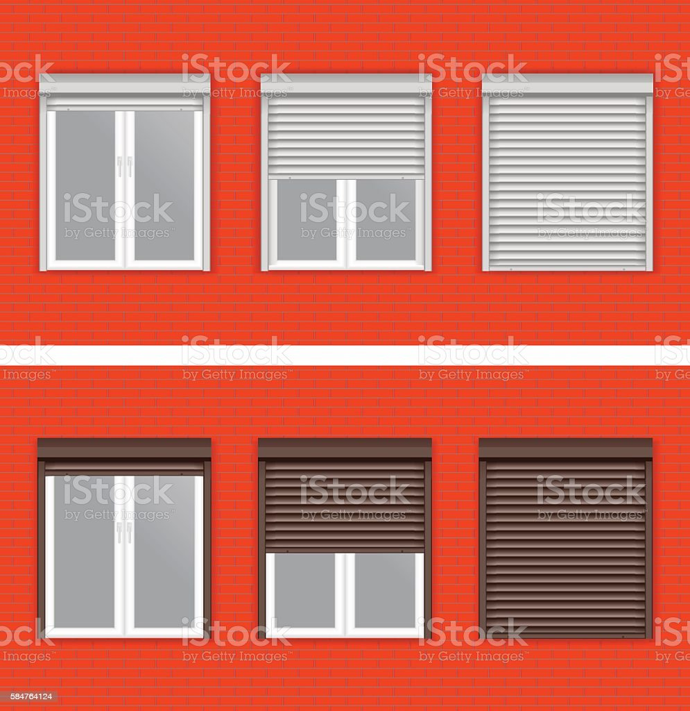Windows with rolling shutters on red brick wall vector art illustration