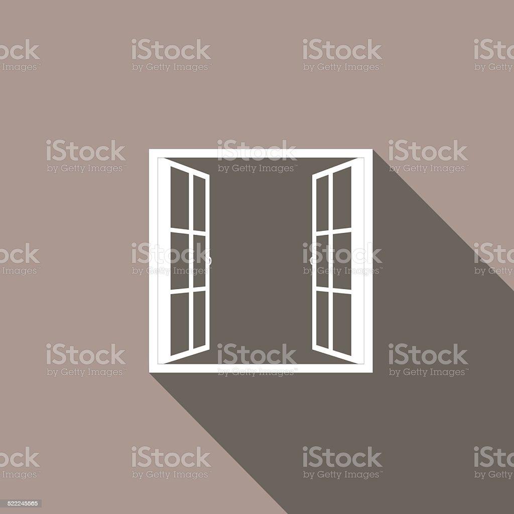 Windows-half open window vector vector art illustration