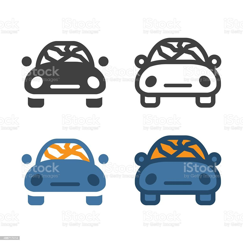 Windshield Cracked Icon vector art illustration