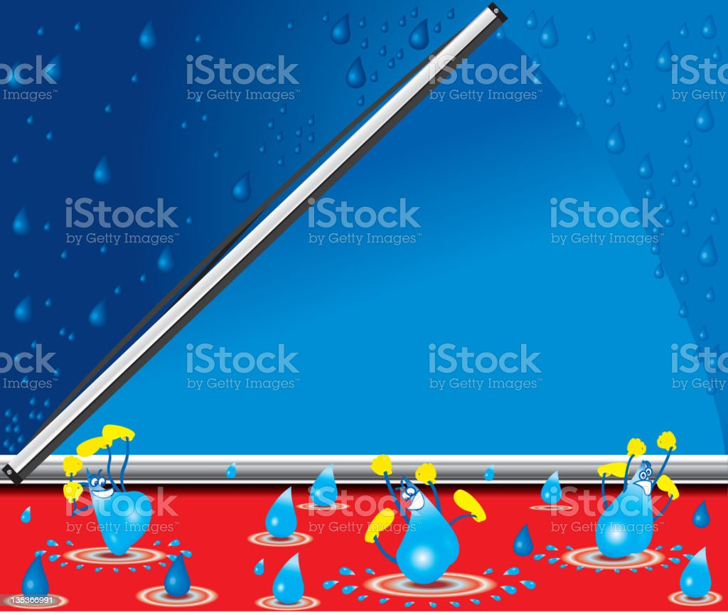 Windshield, wiper and water drops vector art illustration