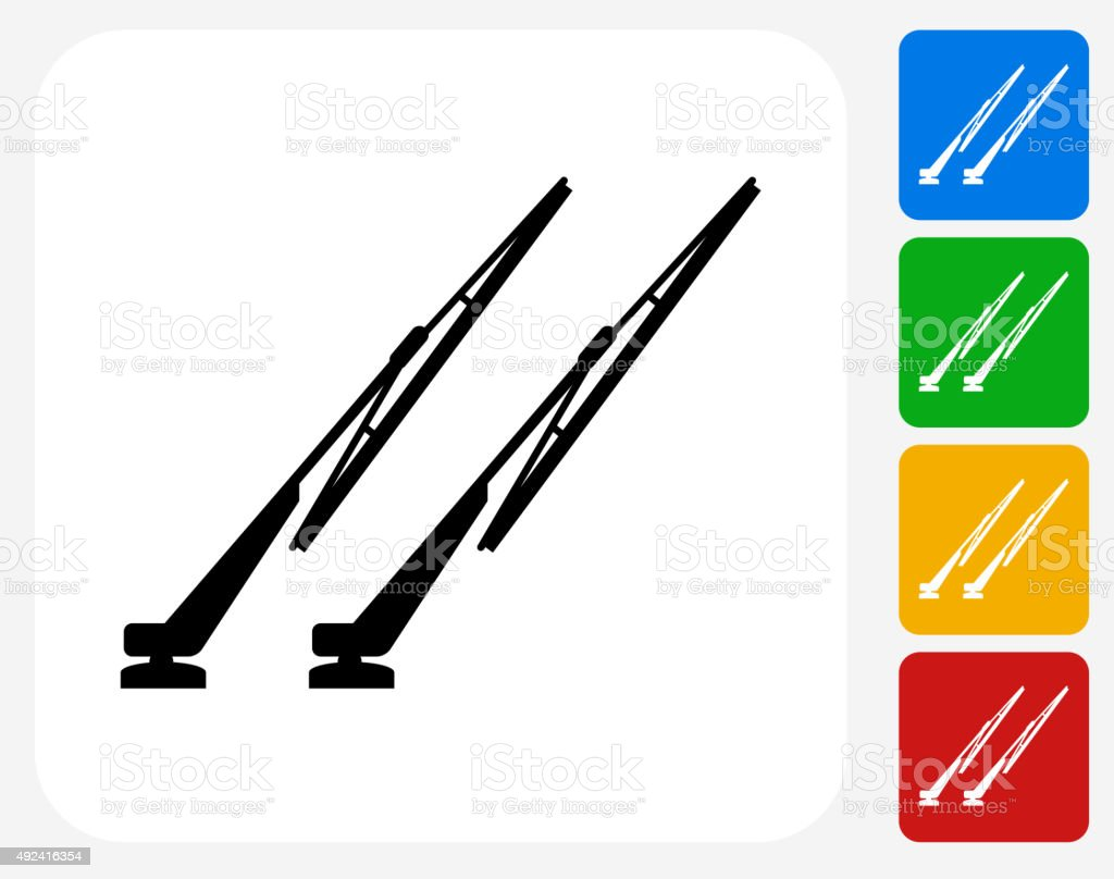 Windshield Wipers Icon Flat Graphic Design vector art illustration