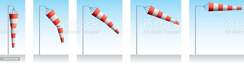 Windsock Wind Speed vector art illustration