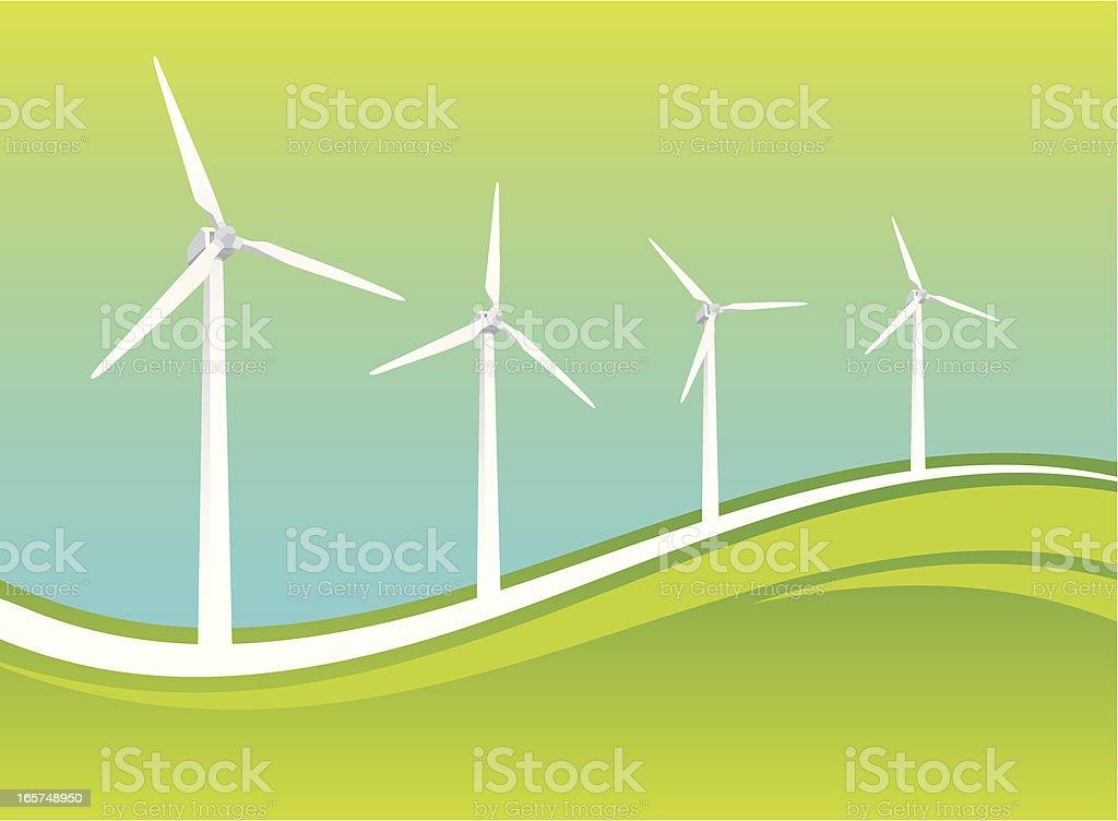 Windturbines in graphic landscape vector art illustration