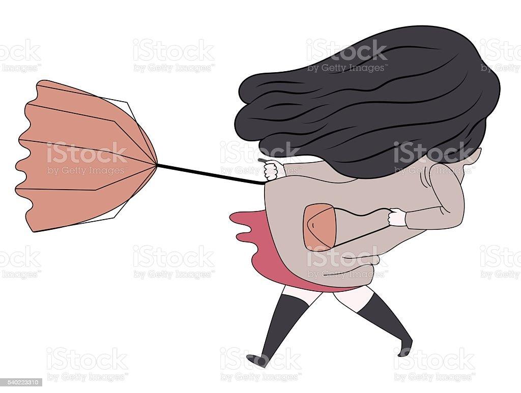 Windy girl 2 vector art illustration
