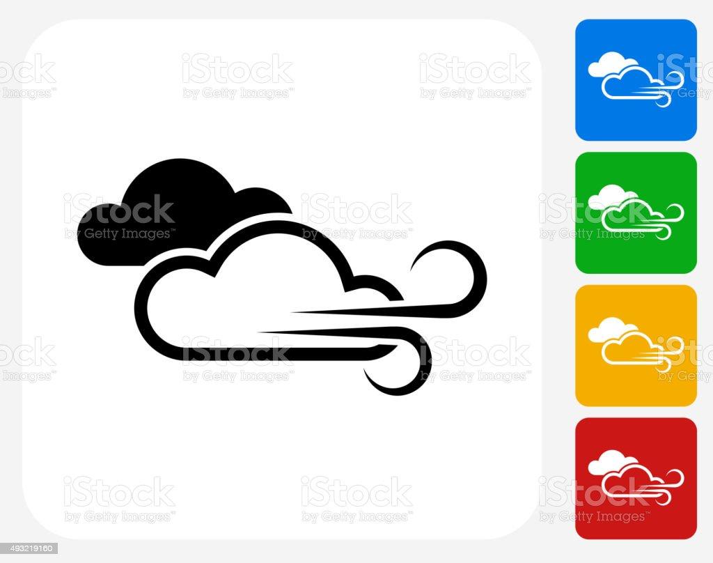 Windy Weather Icon Flat Graphic Design vector art illustration