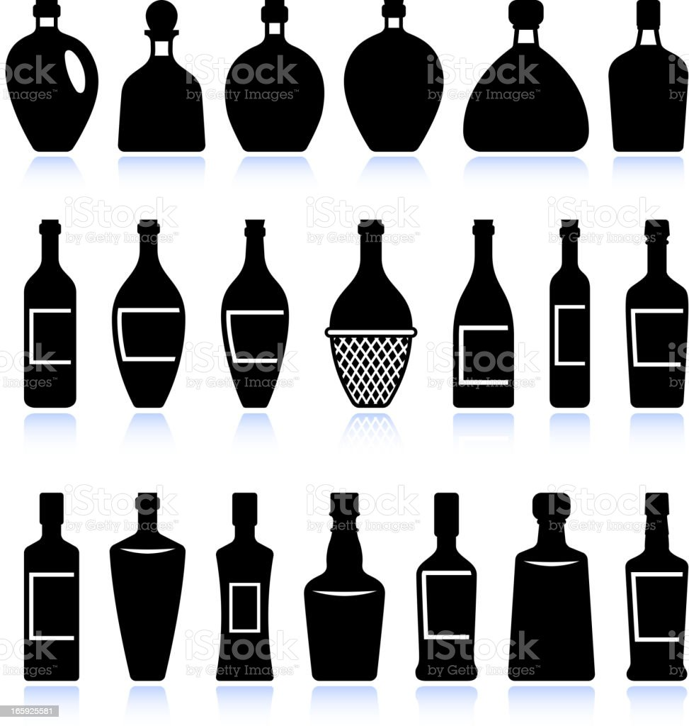 Wine and alcohol bottles black & white vector icon set vector art illustration