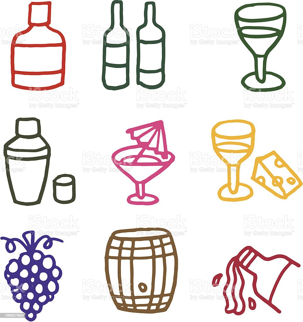 Wine and alcohol doodle icon set royalty-free stock vector art