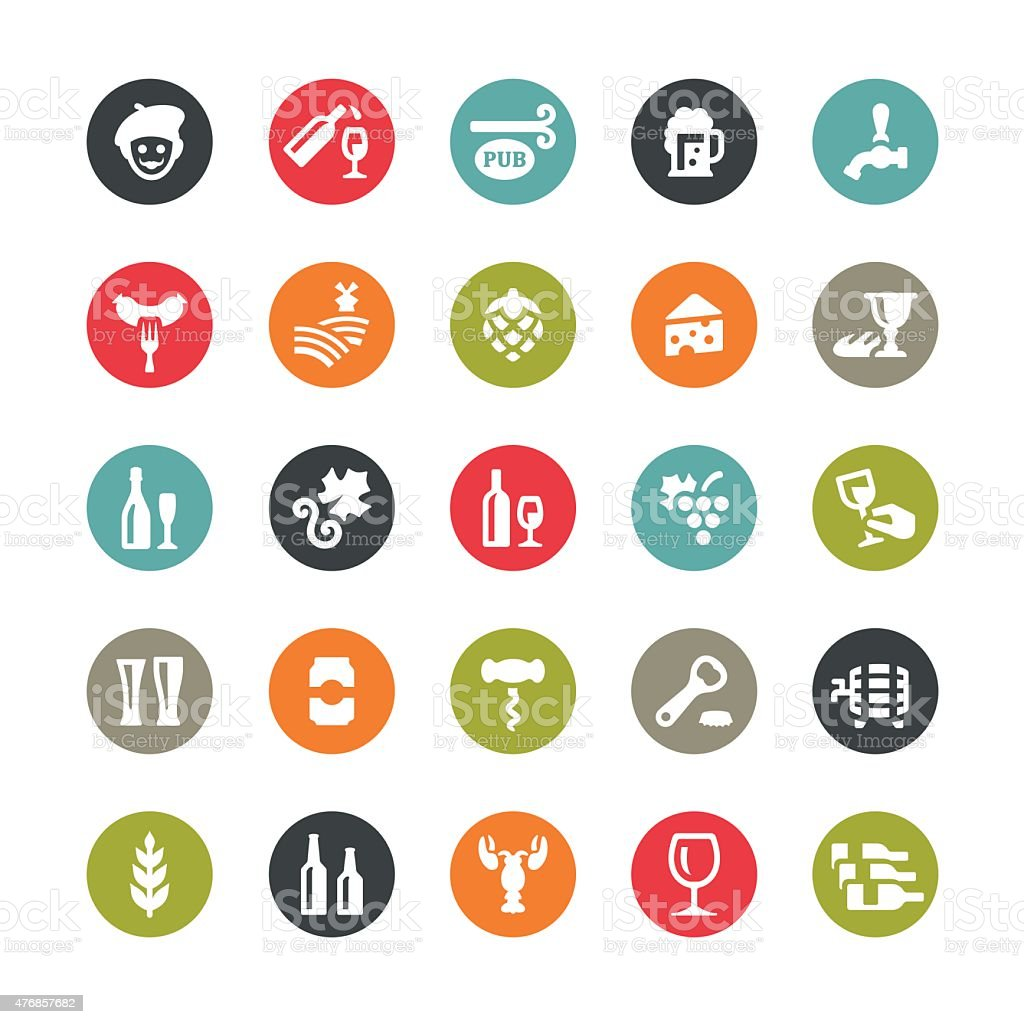 Wine and Beer icons / Ringico series vector art illustration