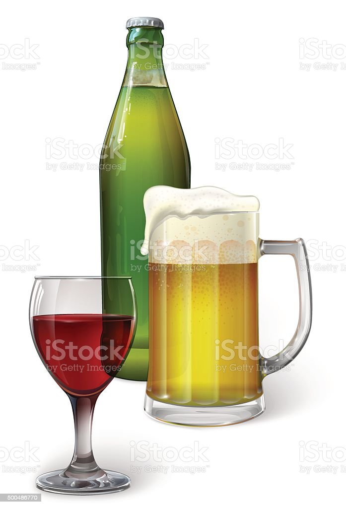 Wine and beer vector art illustration
