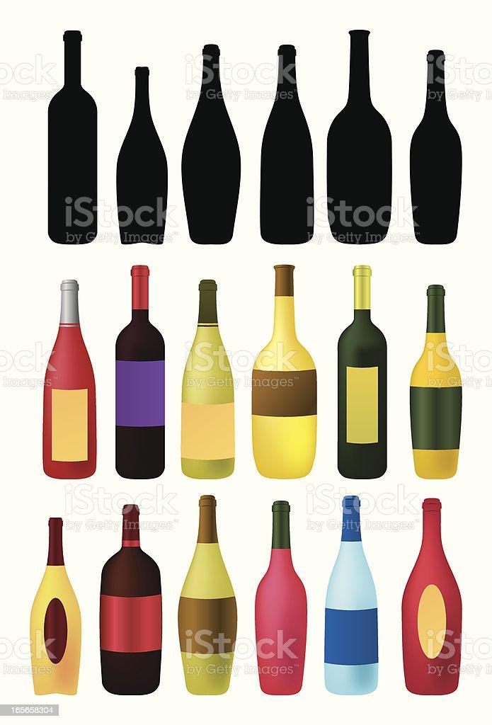 wine and beverages bottles outlines vector art illustration