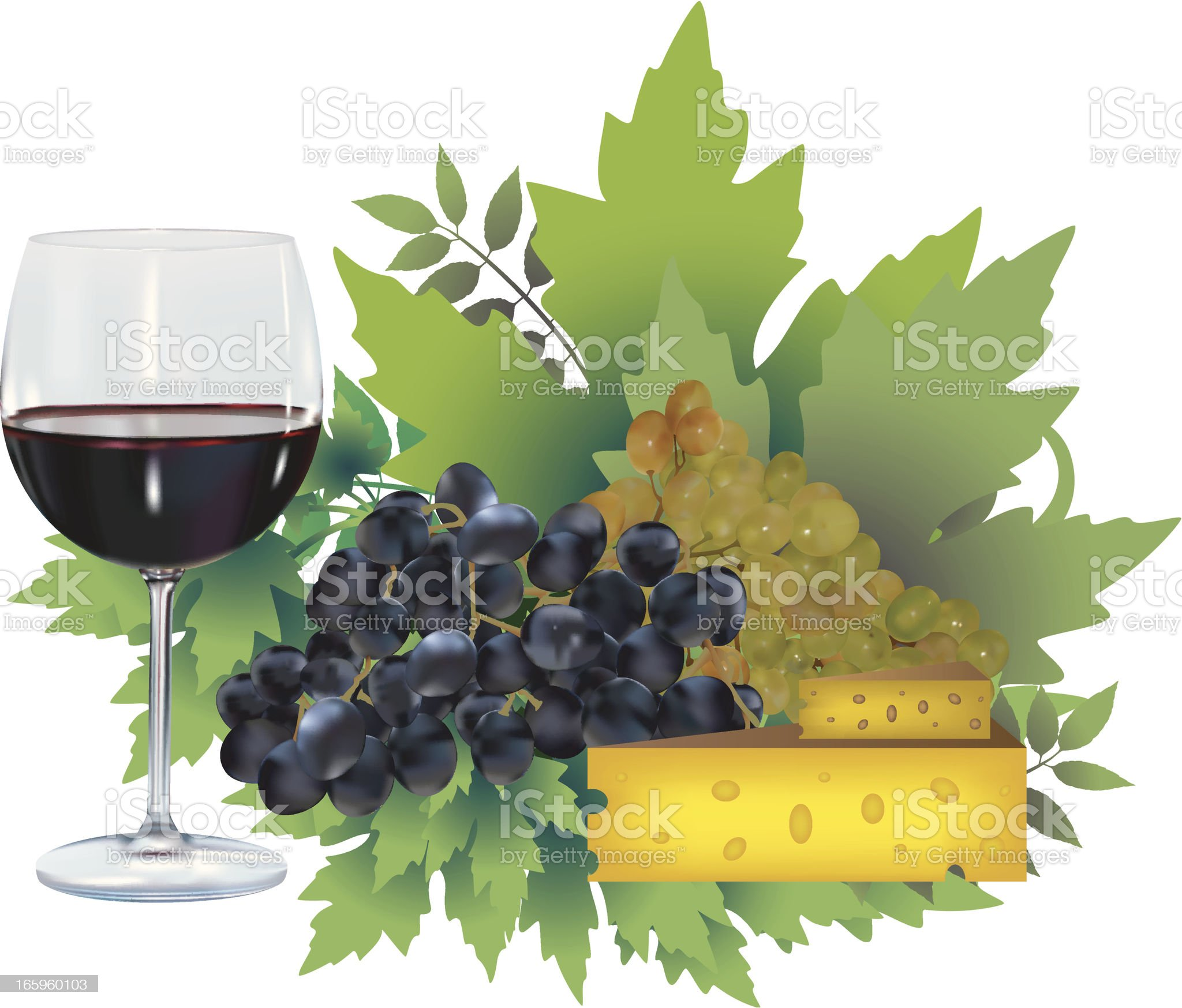 Wine And Cheese Delicacy royalty-free stock vector art