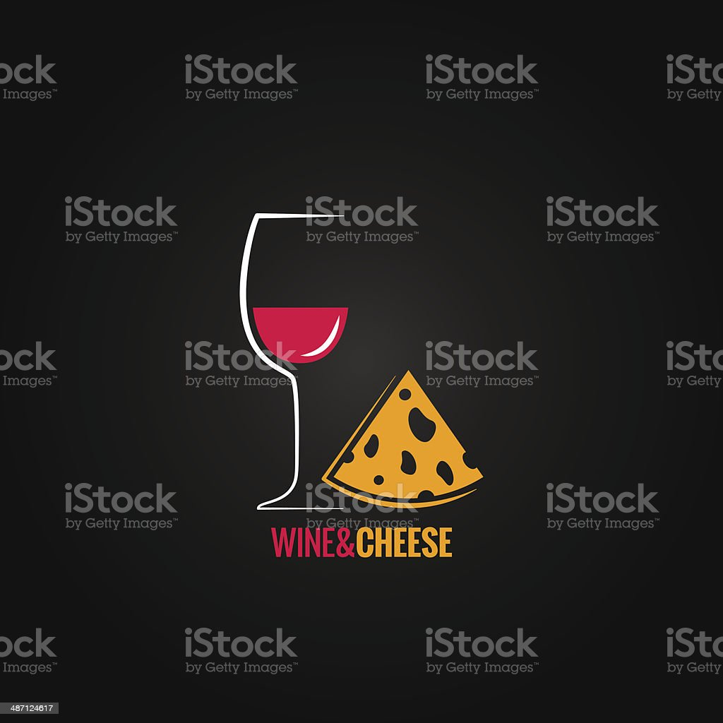 wine and cheese design background vector art illustration