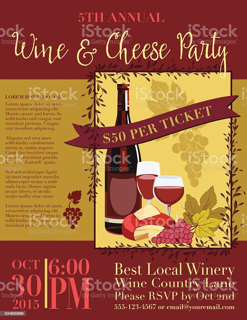 Wine And Cheese Invitation Poster Template vector art illustration