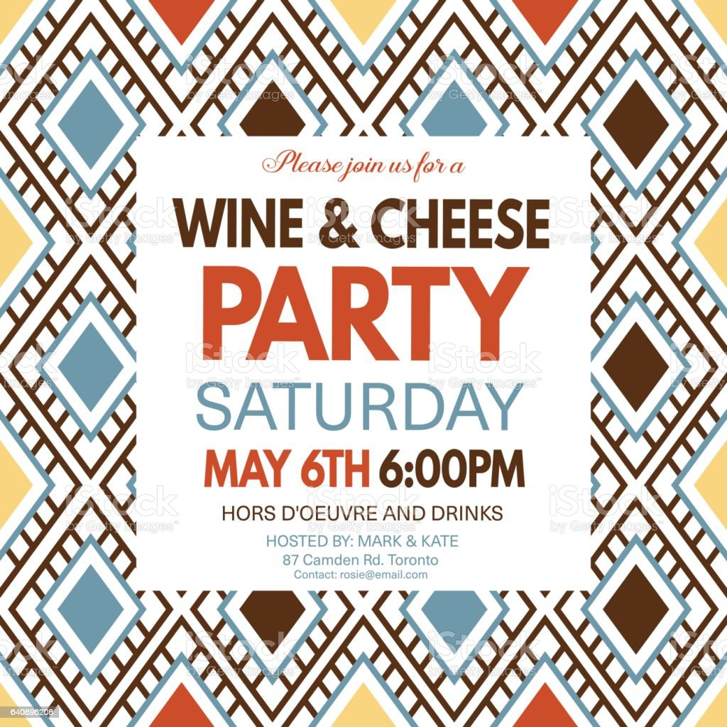 Wine and Cheese Party Invitation Template On A Geometric Pattern vector art illustration