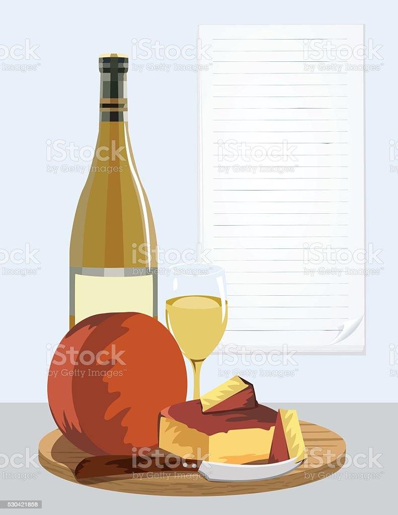 Wine and Cheese Party Poster vector art illustration
