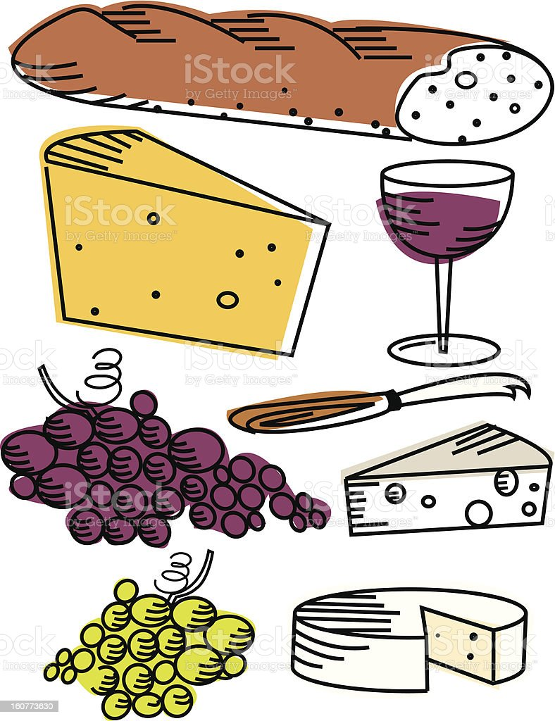 wine and cheese picnic items royalty-free stock vector art