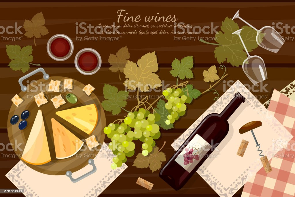 Wine and cheese tasting  top view vector art illustration