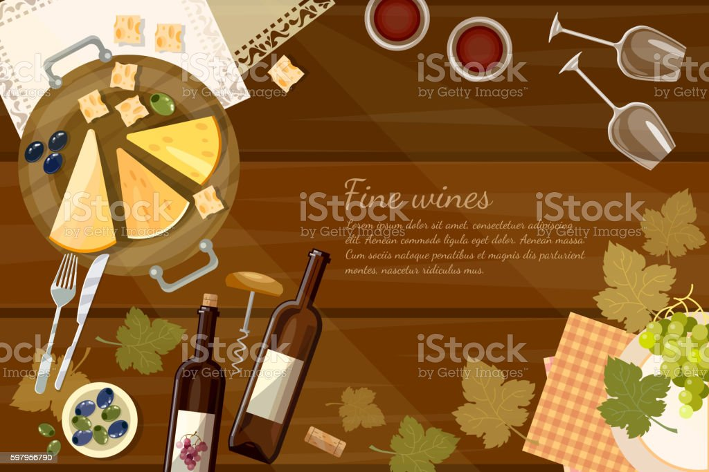 Wine and cheese tasting  top view wine bottle vector art illustration