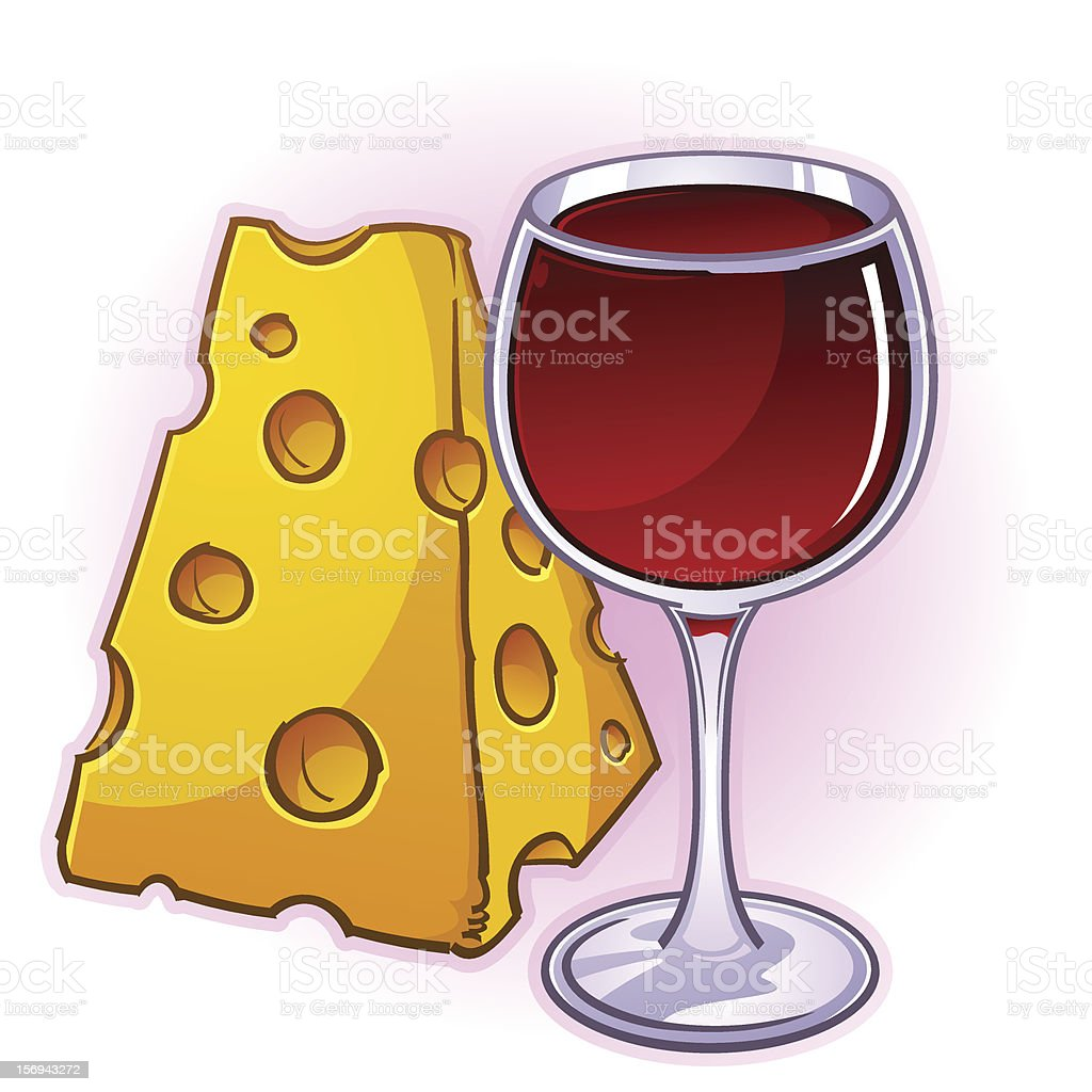 Wine and Cheese vector art illustration