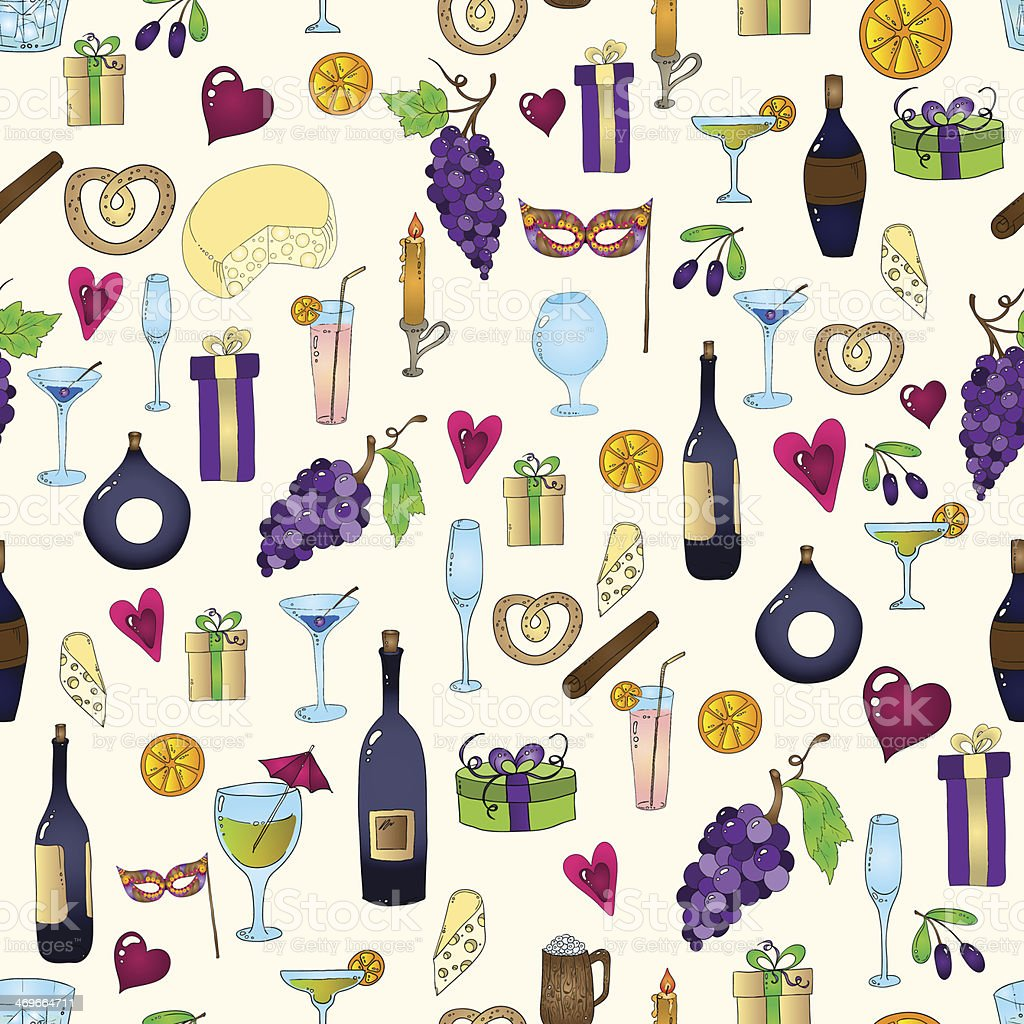 Wine and coctail seamless background. royalty-free stock vector art