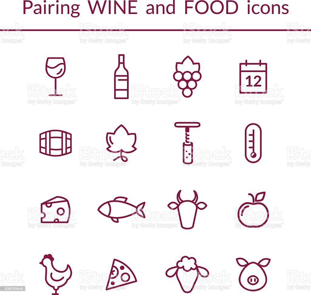Wine and food pairing line icons vector art illustration
