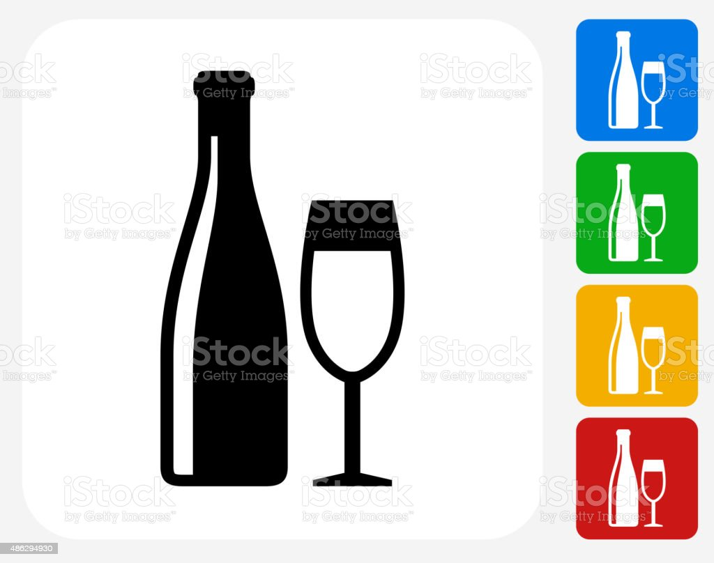 Wine and Glass Icon Flat Graphic Design vector art illustration