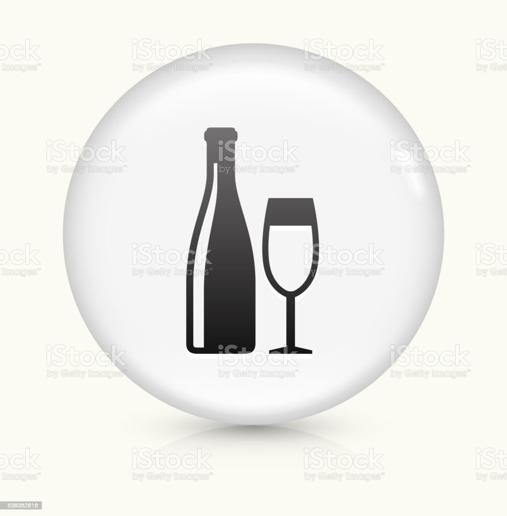 Wine and Glass icon on white round vector button vector art illustration