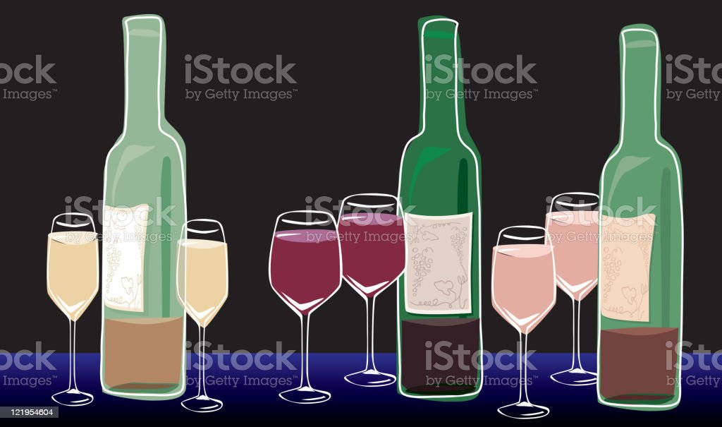 Wine and glasses - Red, Rose, White vector art illustration