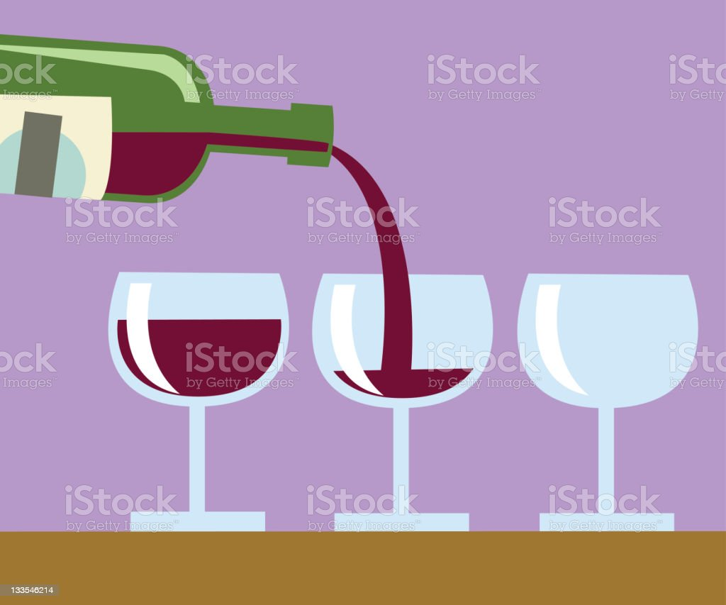 Wine and glasses royalty-free stock vector art