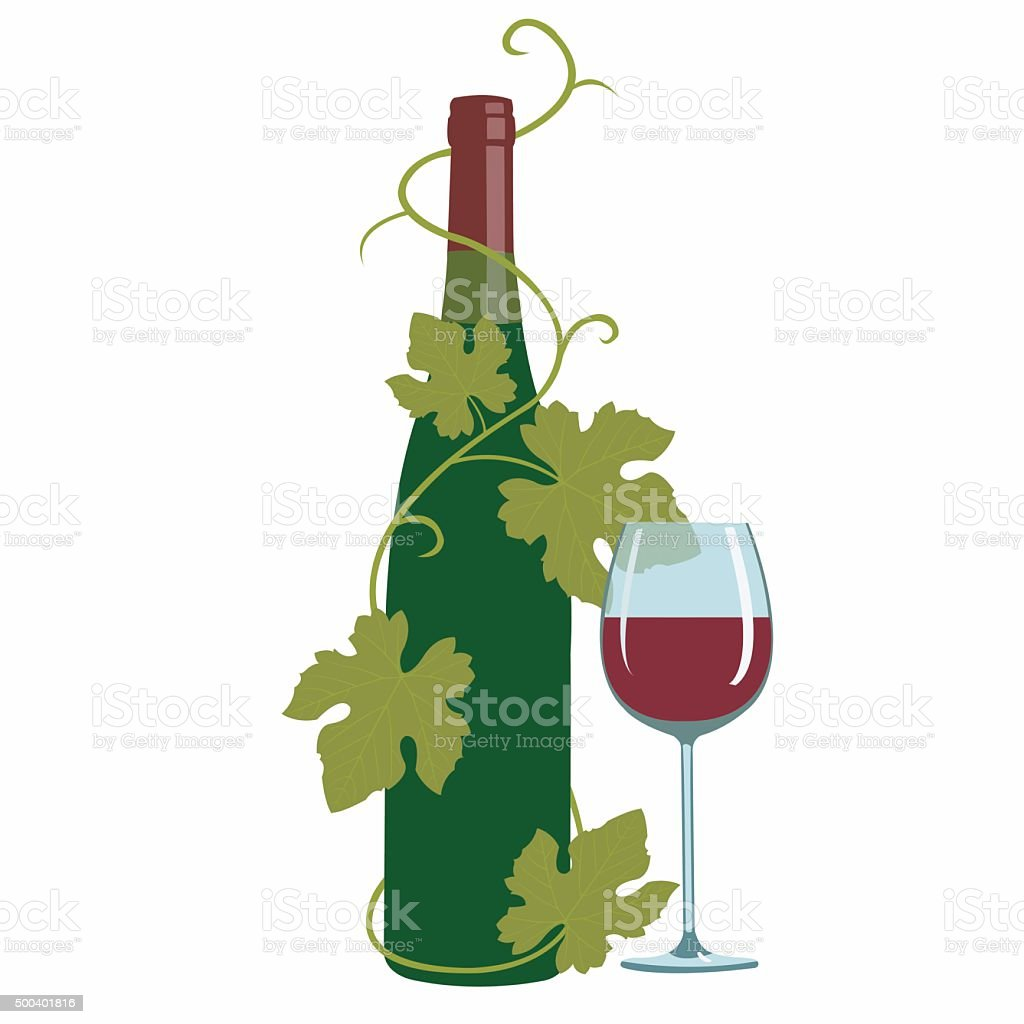 wine and grape leaves royalty-free stock vector art