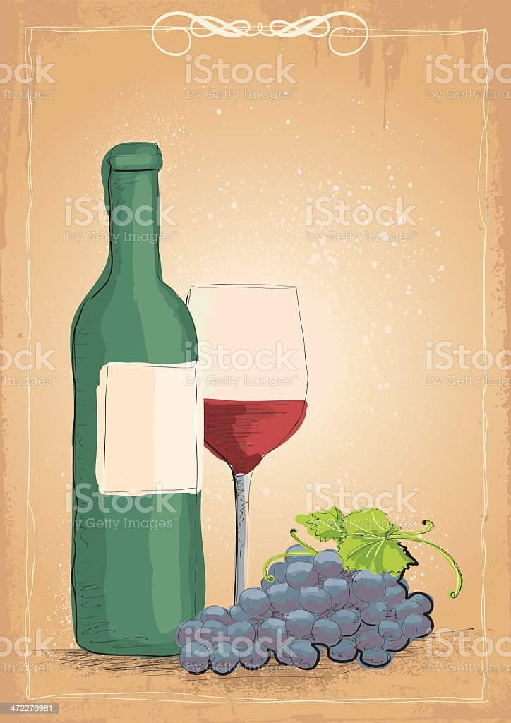 Wine and grapes in retro style royalty-free stock vector art