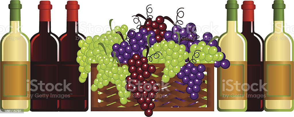 Wine and Grapes royalty-free stock vector art