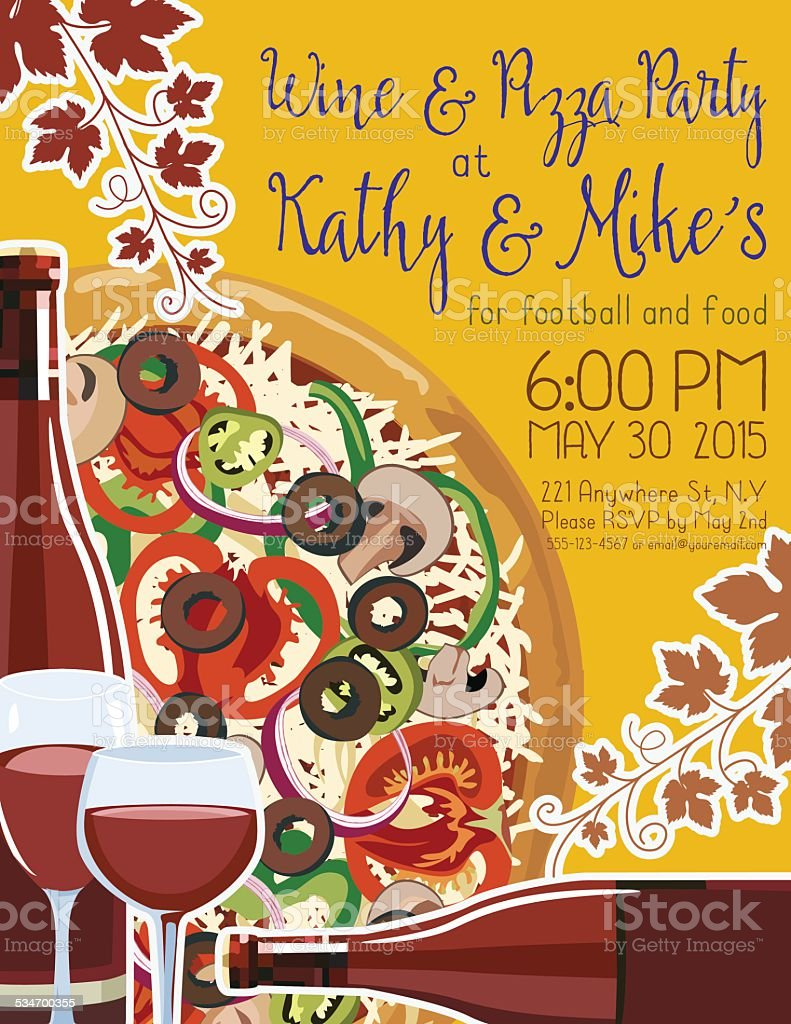 Wine And Pizza Party Invitation Template stock vector art – Pizza Party Invitation Template Free