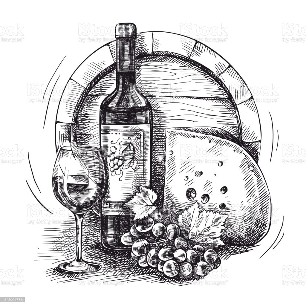 wine and snacks vector art illustration