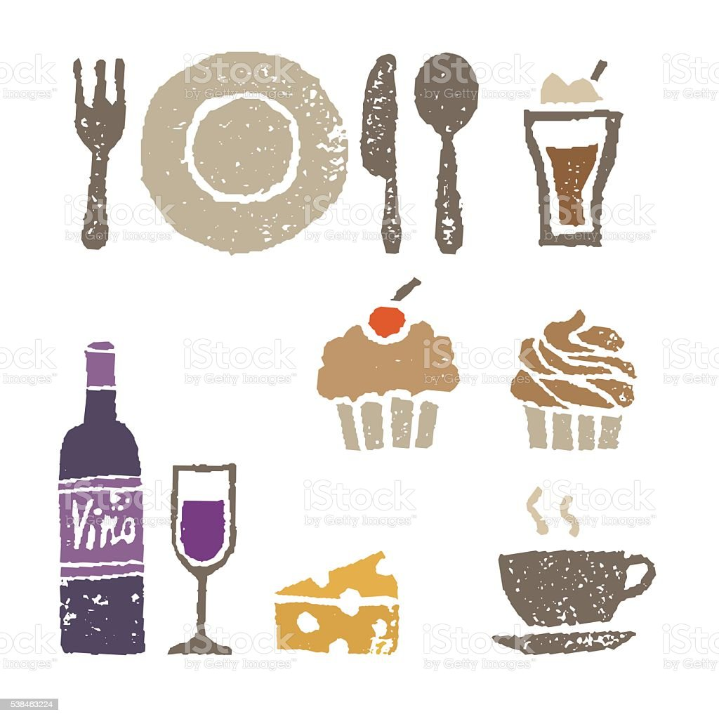 Wine and sweets, restaurant elements illustration vector art illustration