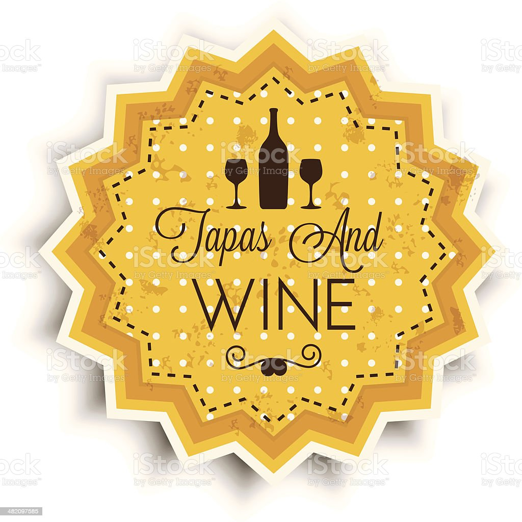 Wine and Tapas vintage label royalty-free stock vector art