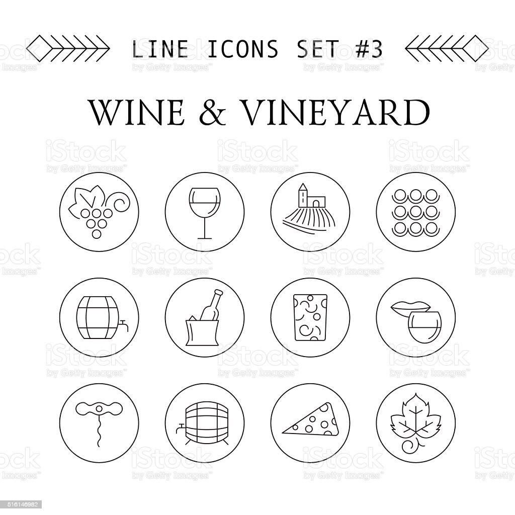 Wine and vineyard line icons vector art illustration