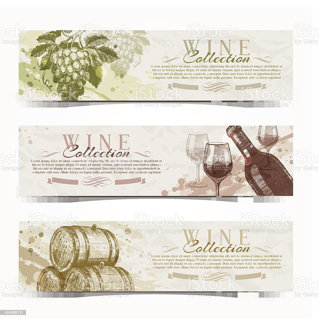Wine and winemaking - vintage banners with hand drawn elements vector art illustration