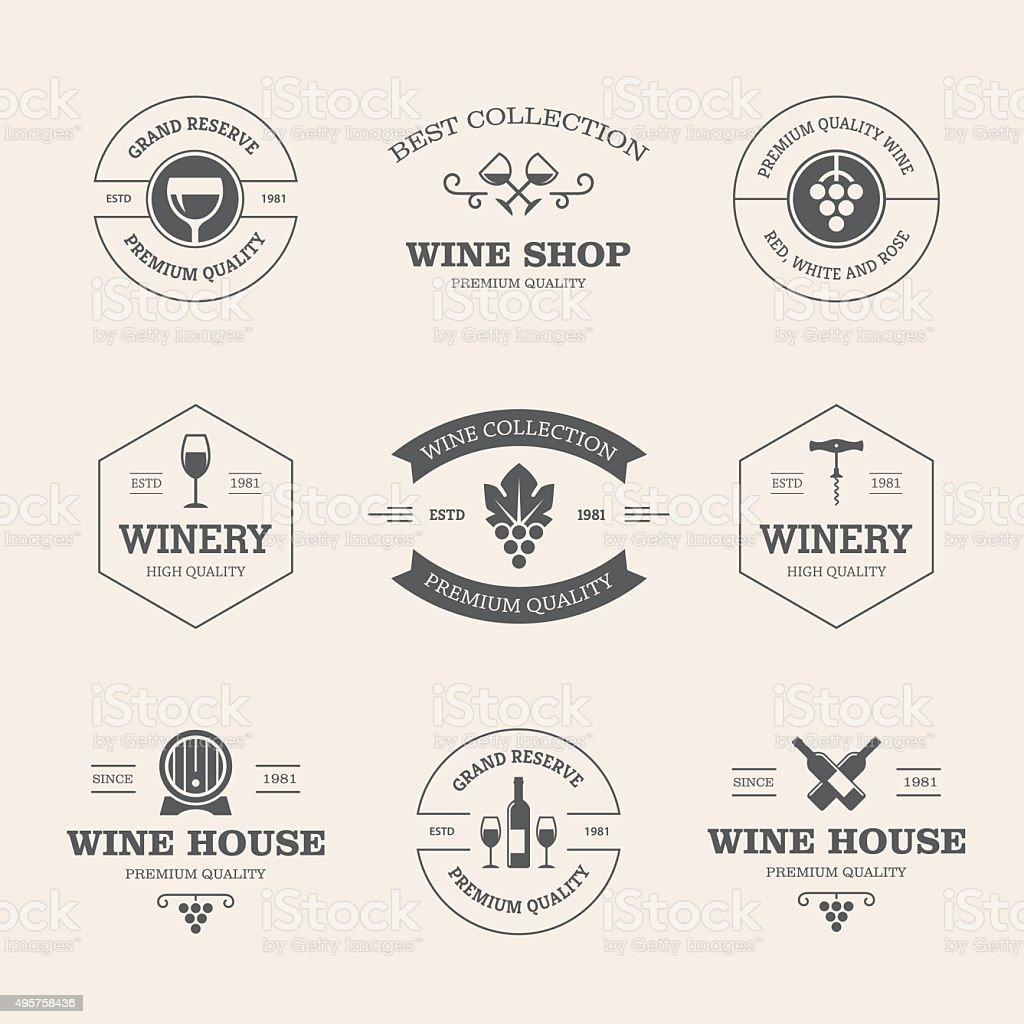 Wine badges and labels vector art illustration
