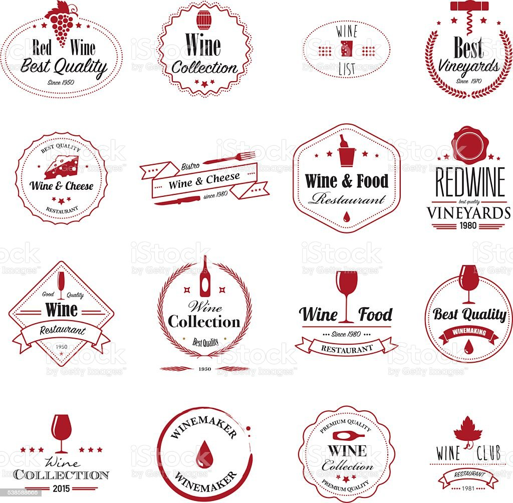 Wine badges vector art illustration