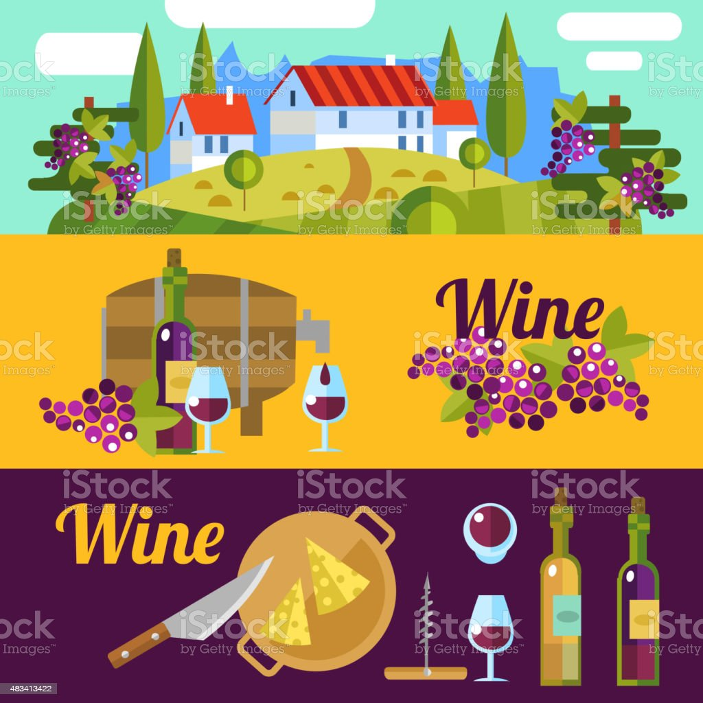 wine banners vector art illustration