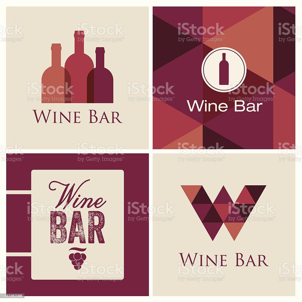 wine bar logo vector art illustration