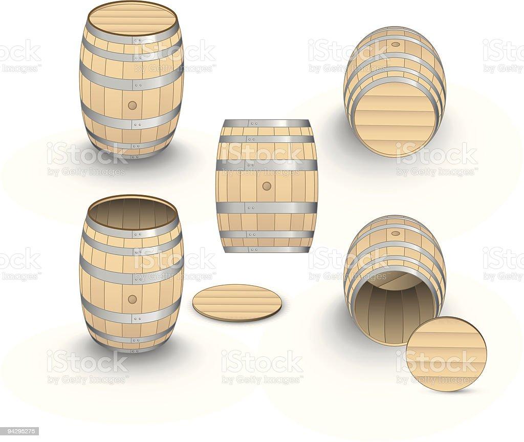 Wine barrels royalty-free stock vector art