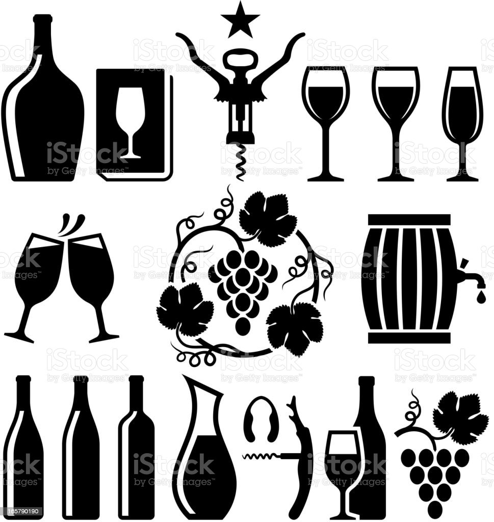 Wine black & white icon set vector art illustration