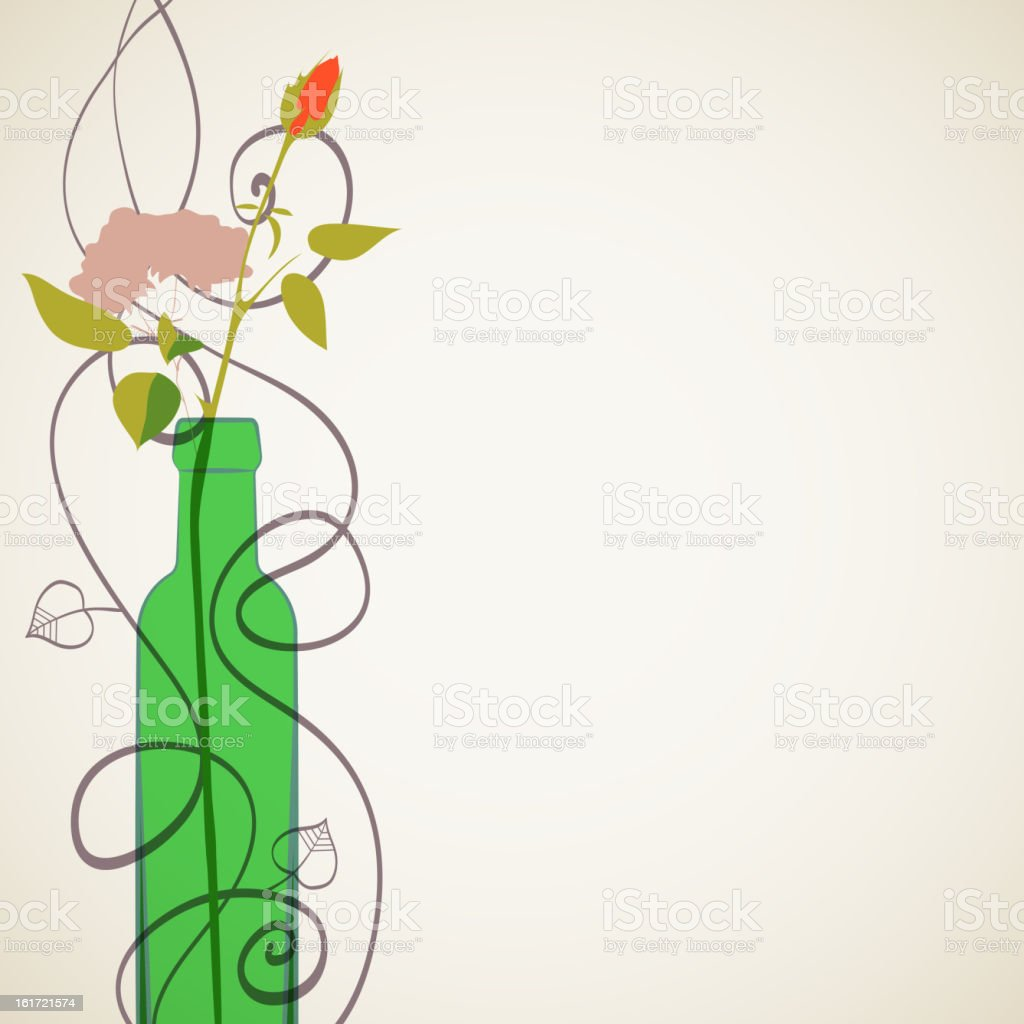 Wine bottle and flowers. Decorative background. royalty-free stock vector art
