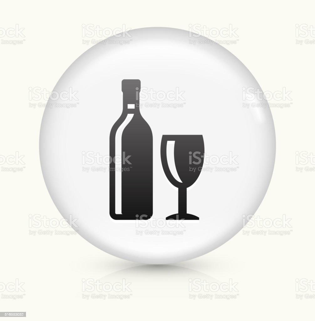 Wine Bottle and Glass icon on white round vector button vector art illustration