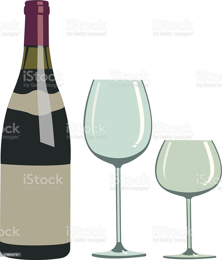 Wine Bottle and Glass - Illustration royalty-free stock vector art