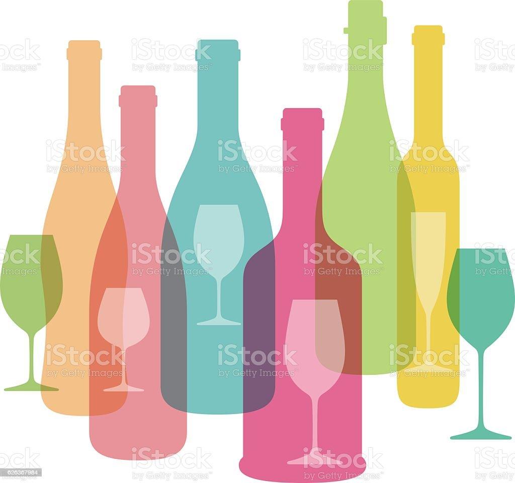 Wine bottle and glass illustration. Vector. vector art illustration