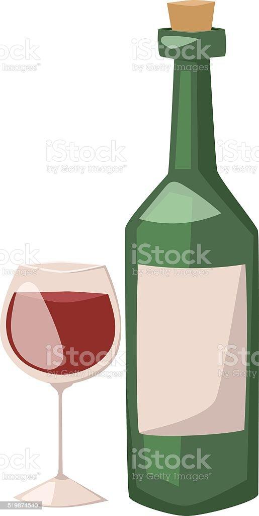 Wine bottle and glass of alcohol illustration vector art illustration